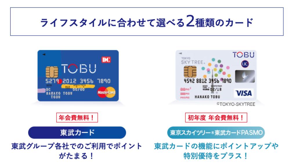 東武カードの種類・年会費